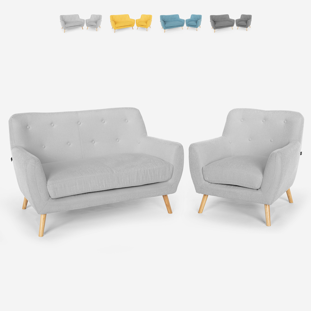 Stue lænestol sofa 2 personers skandinavisk design træ og stof Algot