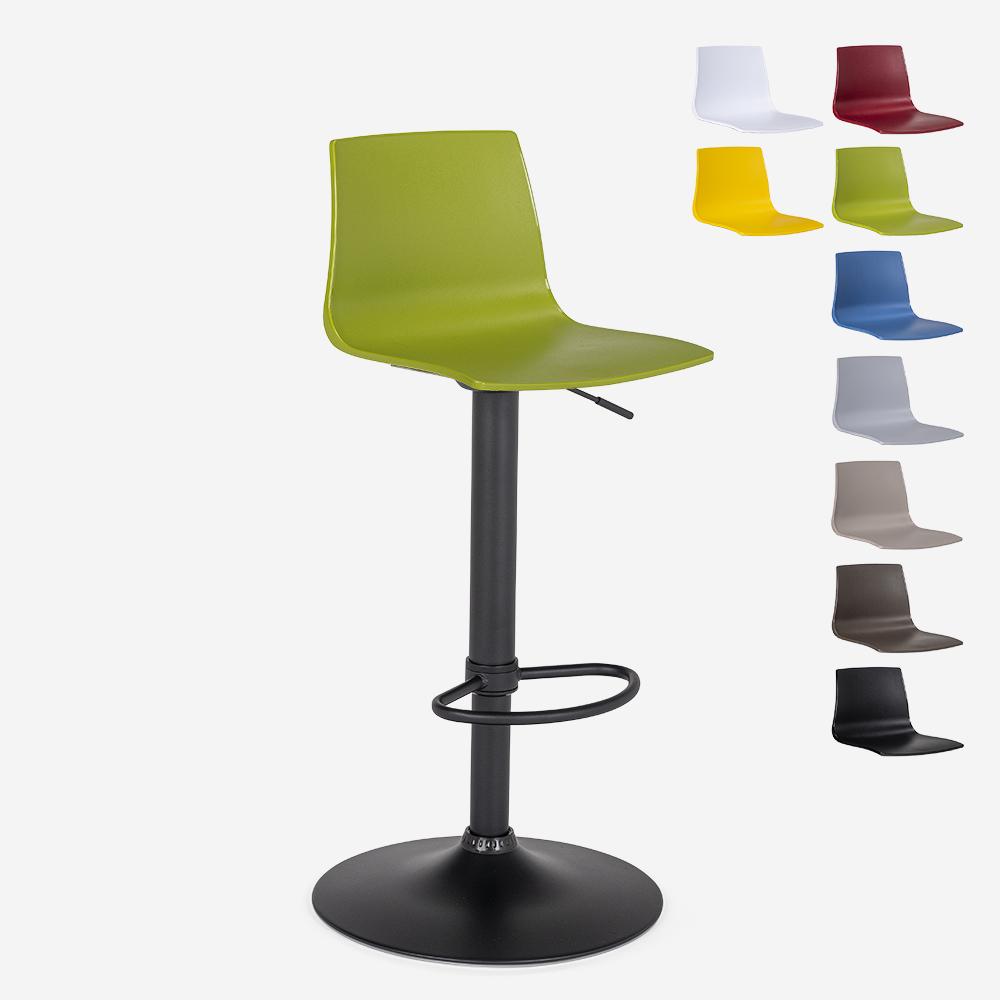 Mat sort design køkken barstol justerbar højde Grand Soleil Imola Matt