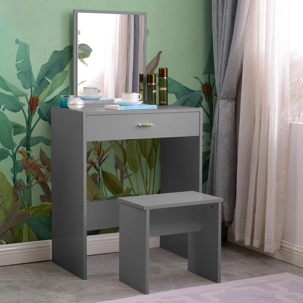Grå make-up station med spejlskuffe soveværelse Dalila Grey