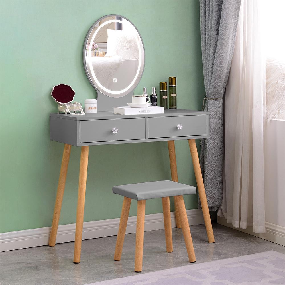 Skandinavisk grå makeup -station med LED -spejlskuffer Serena Grey