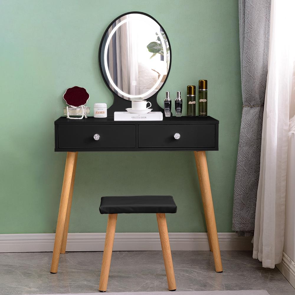 Skandinavisk sort makeup station skuffer LED spejl Serena Black